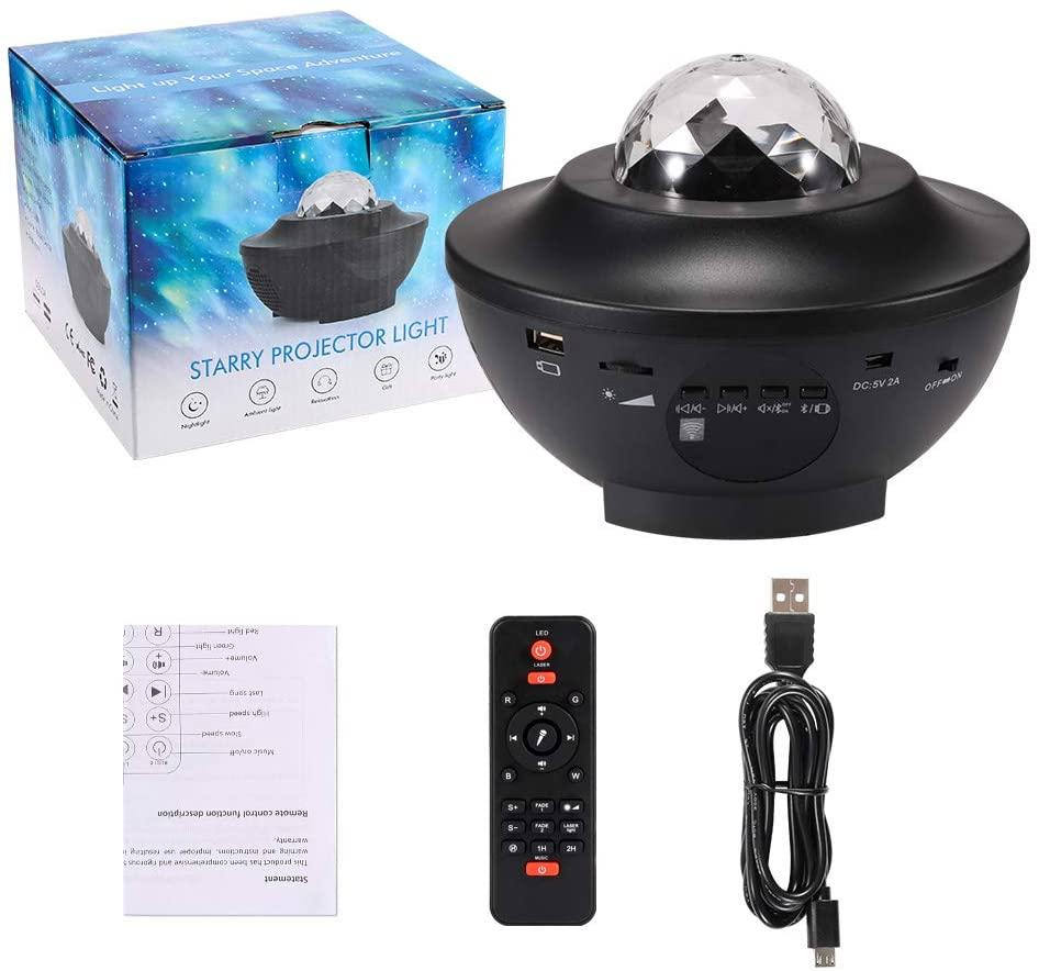 Светодиодный Галактический проектор океанских волн, светодиодный Ночной светильник, музыкальный проигрыватель, дистанционное вращение зв...