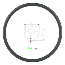 Licht gewicht 320g 29er XC tubeless MTB T800 + T700 Carbon Felge 30mm x 25mm UD Matte glänzend Langlauf Kies Fahrrad Rad
