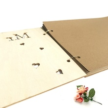 Wooden Personalized Wedding Signature Guest Book Hollow Custom Sticker Party Decoration