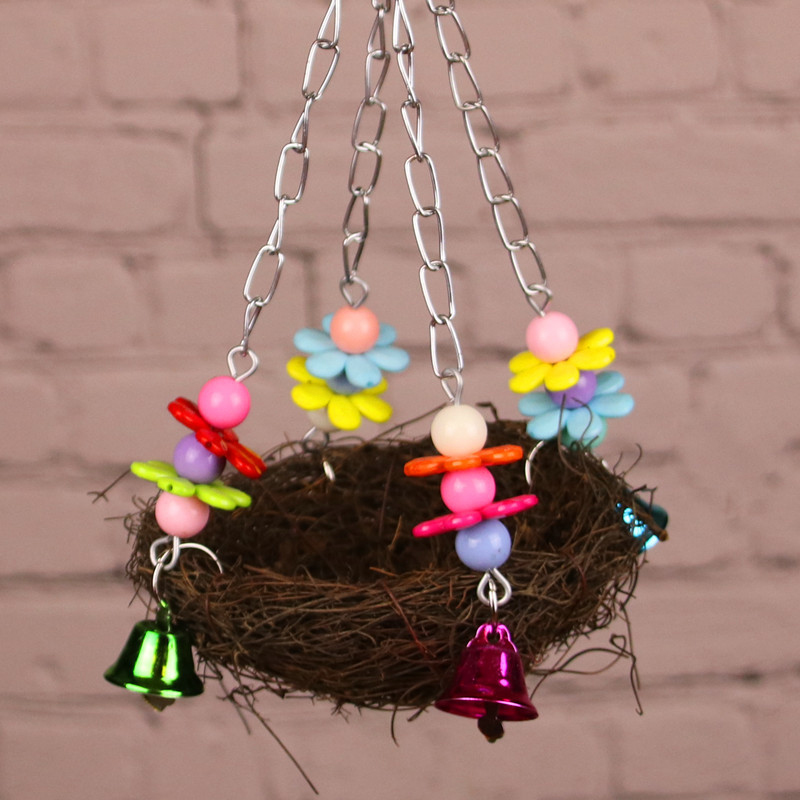 Natural Wooden Parrots Swing Toy Birds Bird Nest Vintage Bird Cage Squirrel Funny Chain Swing Toy Pet Bird Supplies