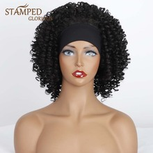 Stamped Glorious 14inches Kinky Curly Headband Wig Black Wig Synthetic Wigs  Heat Resistant  Natural Wave Hair for Black Women