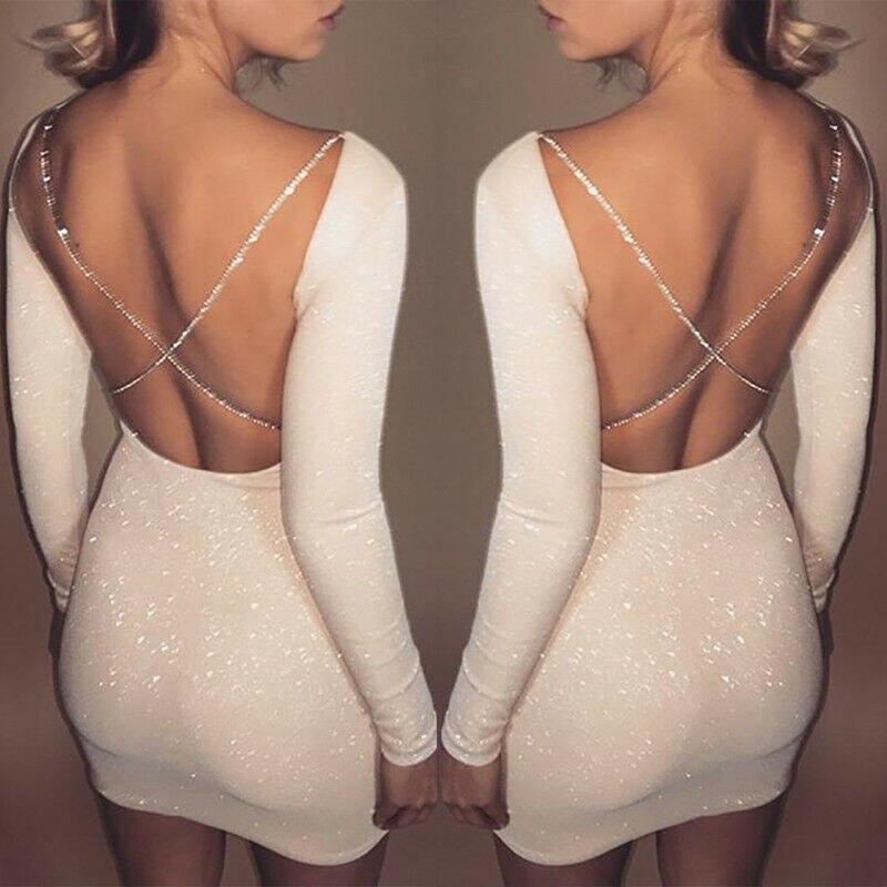 Neue Damen Sexy Strap Satin Backless Kleid Beiläufige Elegante schlanke Vestido Verband Bodycon Abend Party Bleistift Midi Kleid