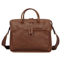 купить Business Men Briefcase Bag  PU Leather 14 inch Laptop Bag Casual Man Office Messenger Shoulder Bags Retro High Quality 2019 New по цене 5536.15 рублей