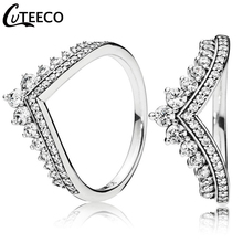 CUTEECO 2019 New Crown Princess Temperament Stack Ring for Women Luxurious Wedding Engagement Jewelry Gift
