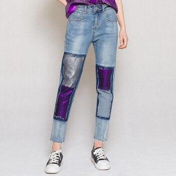 Spring Summer Women High Waist Patchwork Stretchy Blue Denim Trousers , Fashion Tassel Slim Jeans Pants for Woman фото