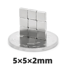 AGMA 100pcs 5x5x2mm Block Neodymium Magnets 5mm x 5mm x 2mm Strong N35 Square NdFeB Rare Earth Magnet Cuboid Imanes 5*5*2 mm