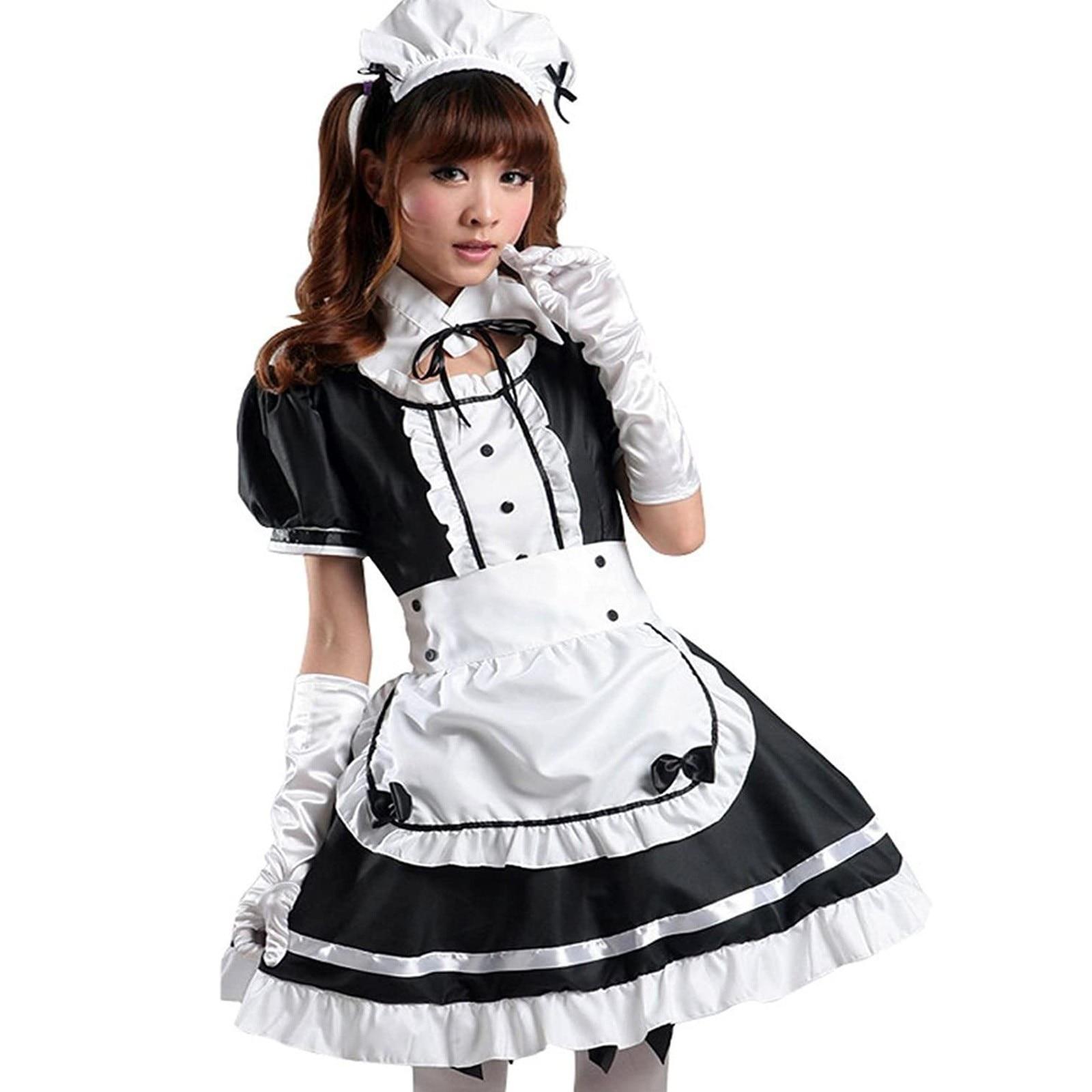4# Maid Cosplay Costume Dresses Women Headwear Apron Fake Collar Bowknot Dress Sweet Kawaii Short Sleeve Dresses Kleider Damen 7