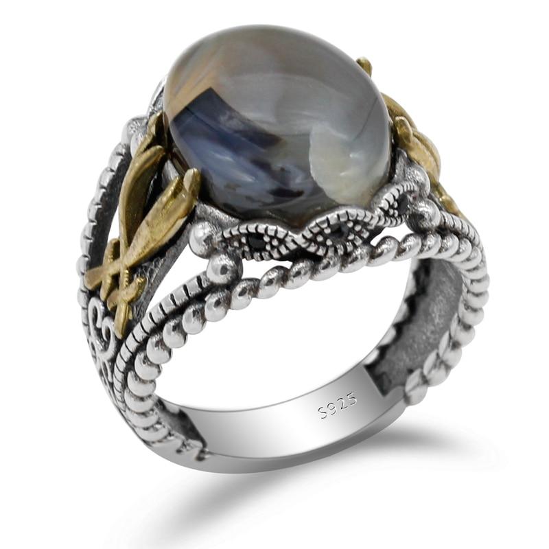 925 Sterling Silber herren Ring Ozean Natürliche Stein und Reben männer Punk Ring Hohe Schmuck|Ringe|   - AliExpress