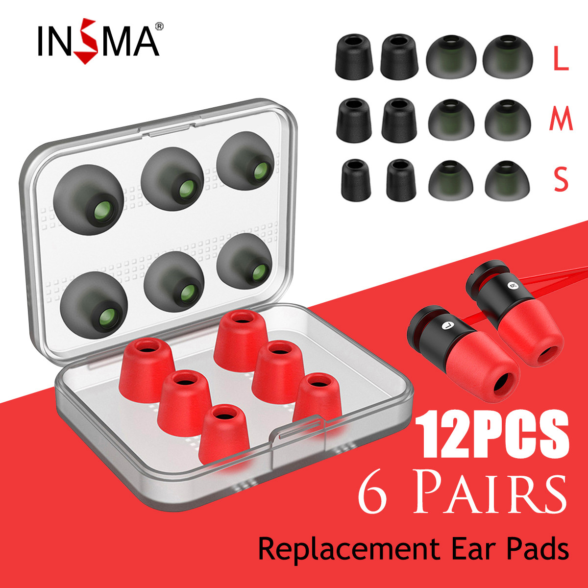 INSMA 12pcs Set Replacement Noise Isolating 3 Pairs Memory Foam Tips & 3 Pairs Silicone Earbuds Ear Pads For Headphone Earphone