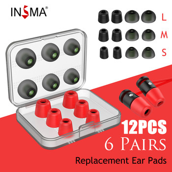 INSMA 12pcs Set Replacement Noise Isolating 3 pairs Memory Foam tips & Silicone Earbuds Ear Pads for Headphone Earphone