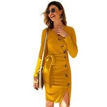 Long Sleeve Knitted Sweater Dress Autumn Winter 2019 New Fashion V-Neck Sexy Bandage Dress Women Slim Bodycon Dresses Vestidos цена