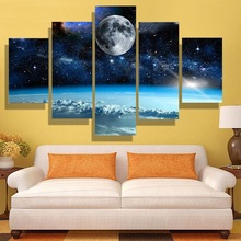 Galaxy Stars Astronaut Planet Hole Space Posters 5 Panel Prins Universe Earth Meteorite Wall Pictures for Living Room Decoration taylor butler christine space planet earth