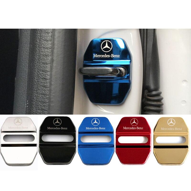 4 Pcs Car Door Lock Covers Car Decoration Case Sticker For Mercedes Benz A B R G Class GLK GLA C200 E200 C200L S400 Car Styling
