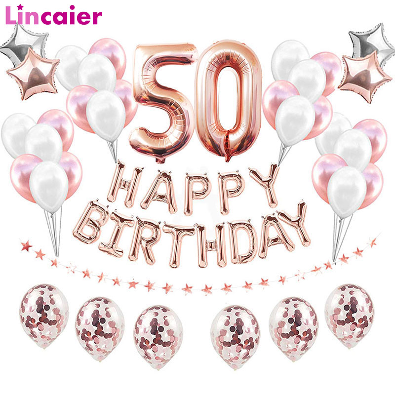 38pcs 32inch <font><b>Happy</b></font> <font><b>50</b></font> <font><b>Birthday</b></font> Foil Balloons Rose Gold Blue Pink Number 50th Years Old Party Decorations Man Woman Supplies image