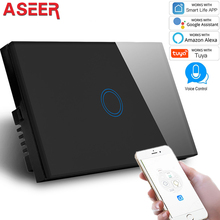 Сенсорный настенный светильник ASEER, 1Gang, Wi Fi, панель переключателей 600 Вт, 110 240 В, беспроводной настенный выключатель, совместим с Alexa и Google Assistant