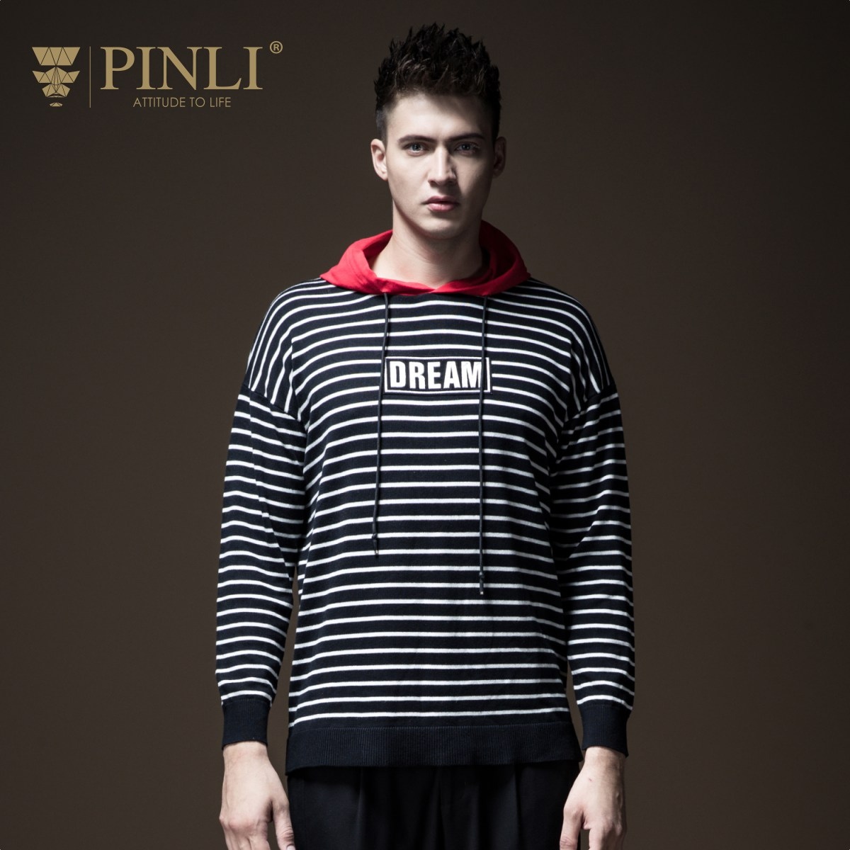 Pinli 2020 Spring New Discount Clearance Slim Striped Color Block Hooded Elastic Waist Hot Sale Casual Men Sweater Coat Pullover