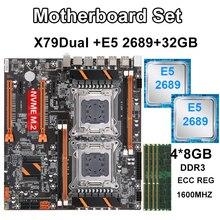 X79 כפולה מעבד לוח האם סט עם 2 Pcs Xeon E5 2689 4PCS 8GB 1600MHz ECC REG זיכרון