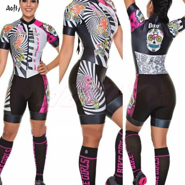 Bicicleta de estrada roupas femininas ciclismo roupas sexy macacão colômbia lycra triathlon esportes skinssuit ropa de ciclismo crânio flores 2