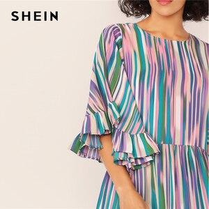 Image 4 - SHEIN Exaggerate Bell Sleeve Ruffle Hem Colorful Striped Dress Women Summer Autumn O Neck High Waist Boho Cute Short Dresses