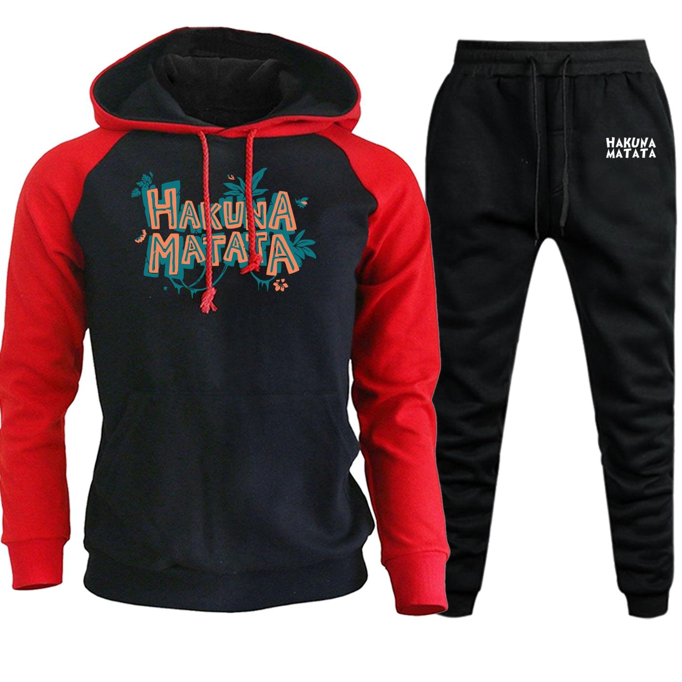The Lion King Sportswear Mens Hoodie Raglan Autumn Winter 2019 New Simba Cartoon Suit Casual Fleece Hooded+Pants 2 Piece Set