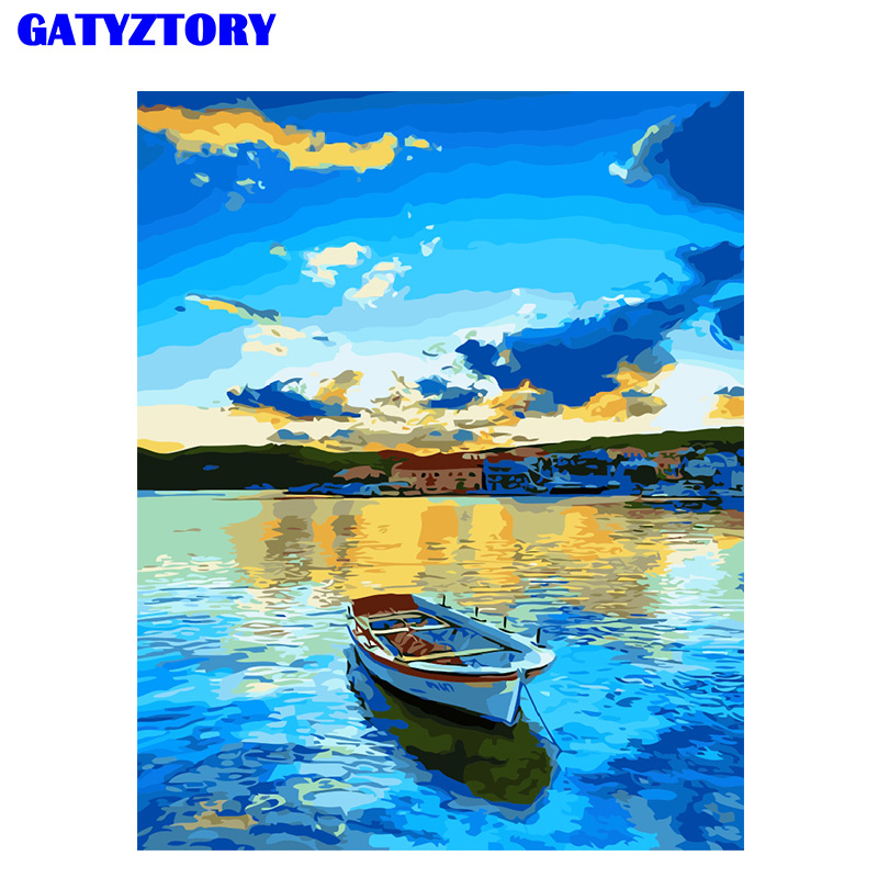 GATYZTORY Frame Diy Painting By Numbers boat lake Acrylic Canvas Paint By Numbers Handpainted Oil Painting For Home Decoration