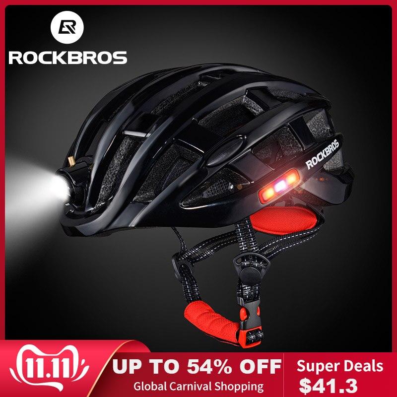 Rockbros luz ciclismo capacete da bicicleta ultraleve capacete intergralmente moldado mountain road bicicleta mtb capacete seguro das mulheres dos homens 57-62cm