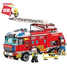 City Police Building Blocks Firefighter Ladder Fire Truck Figure Bricks Car Train Firemen Kits  Sets Kids Toys Compatible Gifts недорого