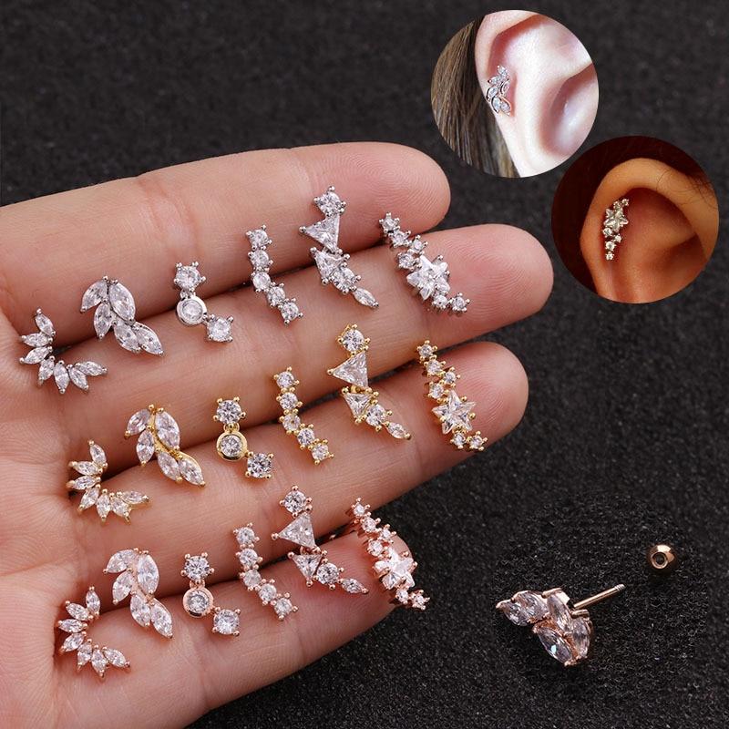 Rose Gold Color Cz Rhinestone Crystal Flower Star Cartilage Helix Screw Back Stud Earrings Stainless Steel Ear Piercing Jewelry