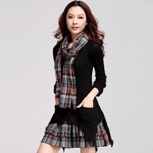 Платье женское, теплое, с длинным рукавом, вельветовое, ассиметричное, в клеточку, Осень-зима