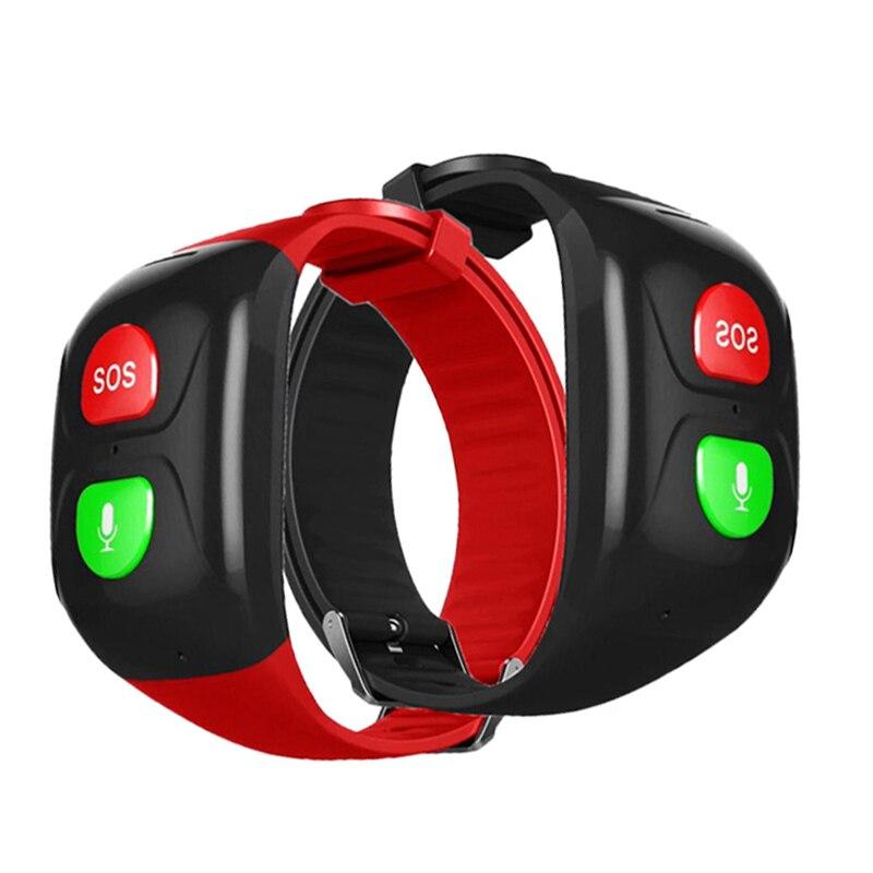 Gps voix rappeler SOS Bracelet intelligent montre pas d'écran pour vieil homme Bracelet Ftness Tracker seulement deux boutons personnes âgées SOS GPS piste