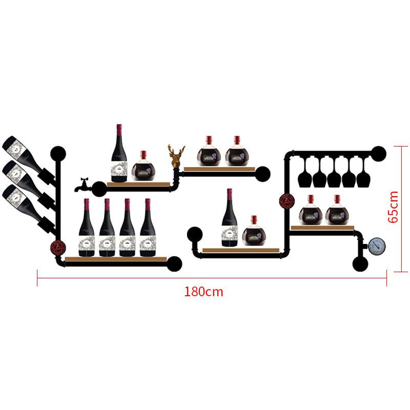 Metal & Wood Wine Rack European-style Wine Rack Wine Bottle Display Stand Rack Organizer CF