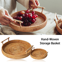 Handwoven Rattan Storage Basket Round High Wall Severing Tray Food Storage Platters Plate Over Handles For Drink Coffee Tea 22cm