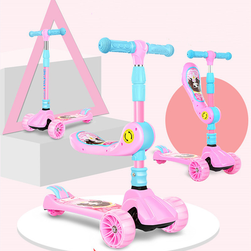 Children's Scooters 1-3-6-12 Years Old Children Baby Girls Boys Wide Wheels Pedal Single Foot Skating