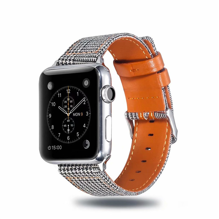 Suitable For APPLE Watch3 4 Generation Galaxy Watch (22 Mm) Genuine Leather Plaid Pattern Watch Strap