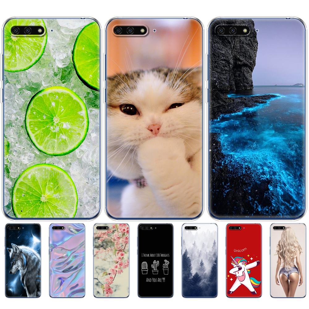 <font><b>Silicone</b></font> phone <font><b>Case</b></font> For <font><b>Huawei</b></font> <font><b>Y6</b></font> <font><b>2018</b></font> 5.7 Inch Colorful Phone shell <font><b>Cases</b></font> Soft Tpu transparent Cover For <font><b>Huawei</b></font> <font><b>Y6</b></font> <font><b>2018</b></font> Atu-L21 image