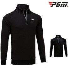 PGM Одежда Для Гольфа Мужская рубашка футболка с длинным рукавом Зимняя Теплая Флисовая майка Топы на молнии с отложным воротником Спортивная толстовка с воротником-стойкой пуловер для гольфа