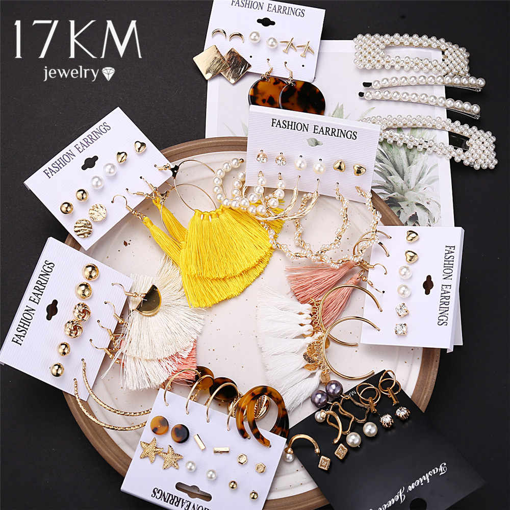 17KM 30 Bohemian Earrings Long Tassel Earrings Set For Women New Boho Geometric Drop Earring 2019 Brincos Female Fashion Jewelry