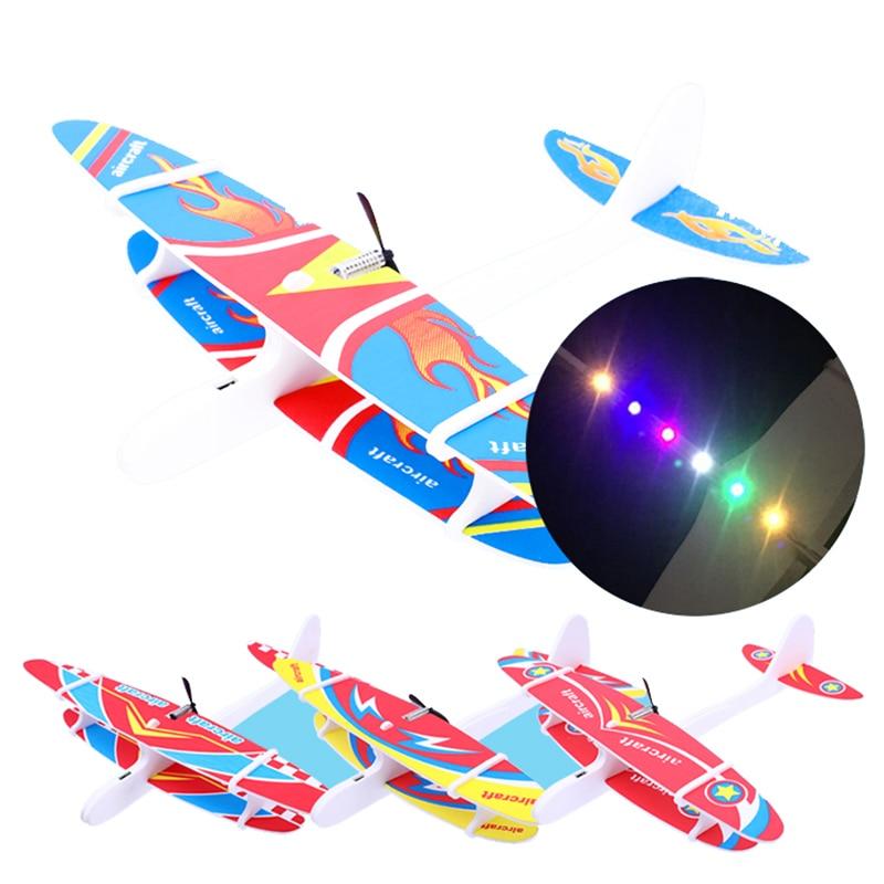 Kid bricolage modèle avion Assemb led planeur électrique EPP mousse main jet avion vol Simulation combattant avec lumière LED jouets de jeu 2