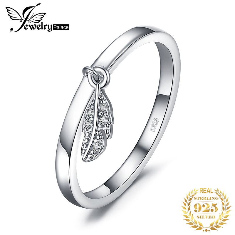 JewelryPalace Dangle Leaf Charm Rings 925 Sterling Silver Rings For Women Stackable Ring Band Silver 925 Jewelry Fine Jewelry