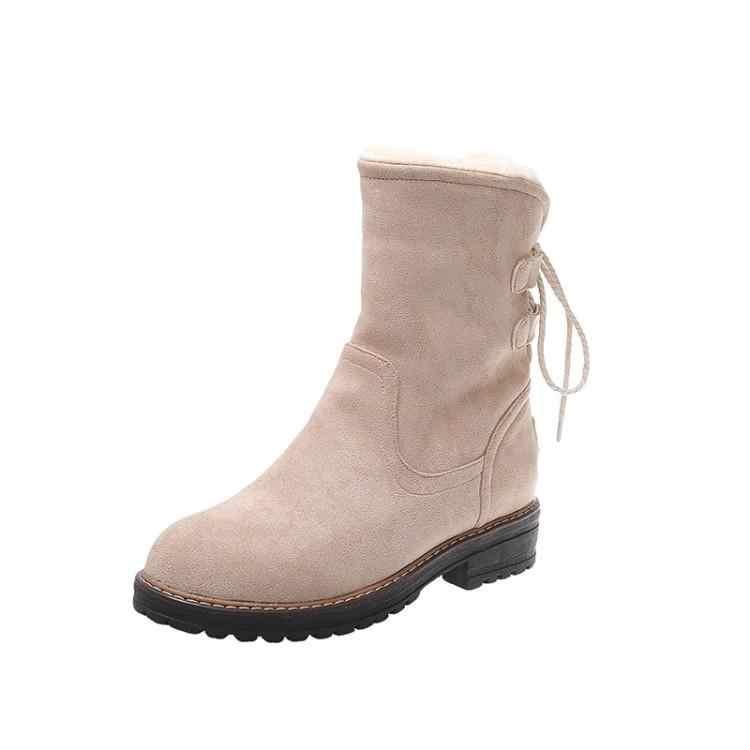 ฤดูหนาวรองเท้าแฟชั่นผู้หญิงหลัง Tie เยาวชนของแข็งสีสบายๆรองเท้าบู๊ตหิมะอบอุ่นสั้น Plush แบน 3.5 ซม.รัสเซียรองเท้าผ้าฝ้าย
