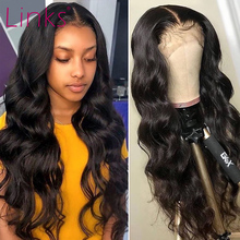 Человеческие волосы с волнистыми волосами Link 28 30 40 дюймов, передние парики на сетке для черных женщин, предварительно выщипанные бразильски...