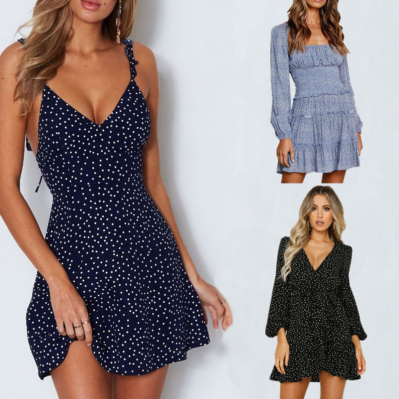 2020 Summer Women Dress V Neck A Line Sexy High Waist Dot Printing Mini Dresses Vestidos Back Lacing Straps Backless Dress XXXL