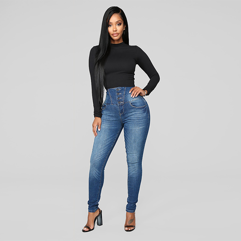 Jeans Woman High Waist Jeans Elastic ButtoPlus Loose Hole Denim Casual Small Feet Cropped Jeans High Waist Jeans Dropship #F