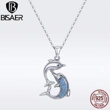 BISAER Valentine Day Gift 100% 925 Sterling Silver Dolphins Love Women Pendant Necklace Sterling Silver Necklace Jewelry GXN168 authentic100% 925 sterling silver austria zircon rings charm l women luxury sterling silver valentine s day gift jewelry 18167