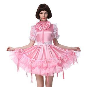 Атласное розовое платье с бантом для девочек; Пышное Бальное Платье с пышными рукавами; карнавальный костюм
