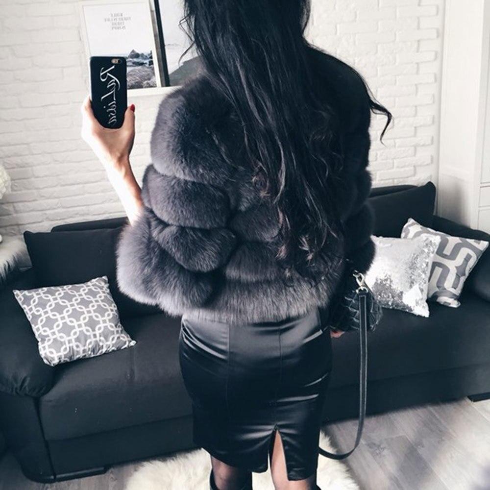 FURSARCAR 2019 mode gris foncé manteau court réel manteau de fourrure femmes naturel renard fourrure manteaux hiver neuf quarts manches chaud vêtements - 3