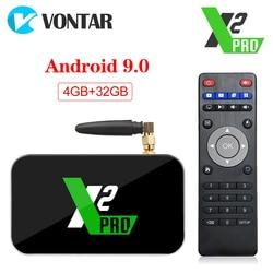 X2 Pro TV caja Android 9,0 4GB de RAM DDR4 32GB inteligente Amlogic S905X2 X2 Cubo de 2GB 16GB Set Top Box 2,4G/5G WiFi 1000M 4K reproductor de medios