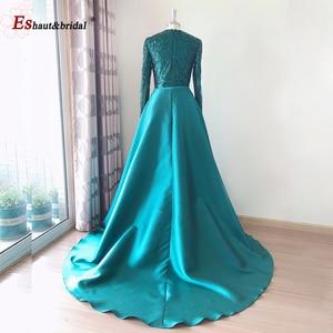 Image 3 - Elegancka suknia wieczorowa 2020 muzułmańskie długie rękawy syrenka z odpinanym pociągiem cekinowe jedno ramię Prom sukienki na przyjęcie