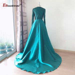 Image 3 - Elegant Evening Dress 2020 Muslim Long Sleeves Mermaid with Detachable Train Sequin One Shoulder Prom Party Gowns