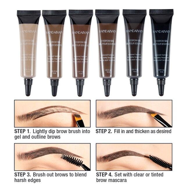 Natural 6 Colors Liquid Dyeing Eyebrow Cream Set Waterproof Durable Brown Tint Eyebrow Henna Mascara Eyebrows Paint Makeup 5
